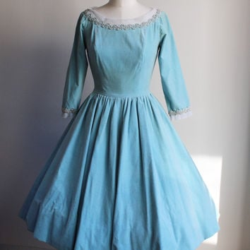 Vintage 1950s Ice Blue Velvet New Look Party Dress With Bow