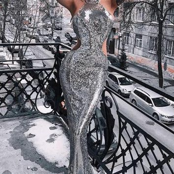 Glazed Heart Sequin Evening Dress