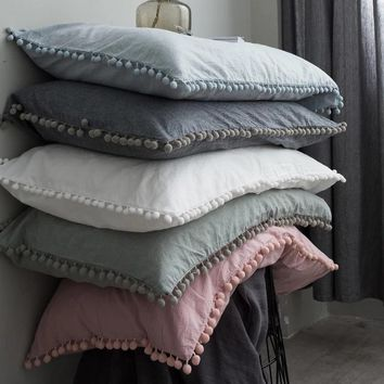 Solid Cotton Pillowcase Home Hotel Bedding Super Soft Pom Pillow Cover Wedding Gift Design Pillow Case For Couple 1/2pcs