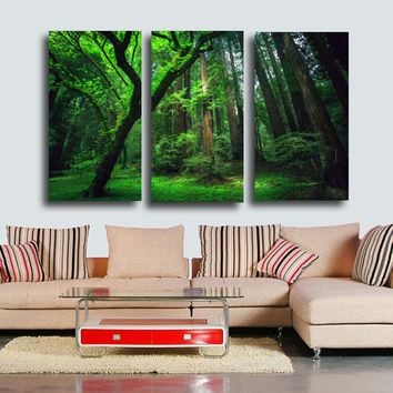Forest green tree Painting Wall Art Print on Canvas -3 piece