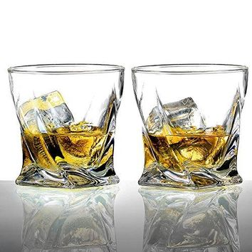 Ecooe 2x200ml Old Fashion Twist Whiskey Glasses Tumblers for Scotch Bourbon and More