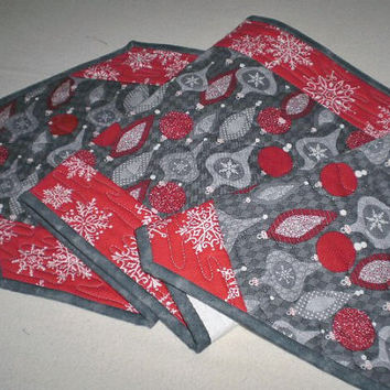 Christmas Quilted Runner Grey Red Ornaments Handcrafted Oblong Modern Holiday Table Accent Housewarming Decor