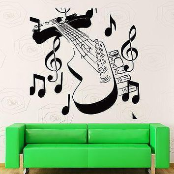 Wall Stickers Vinyl Decal Guitar With Notes Music Rock Rock`n`Roll Decor Unique Gift (z2207)