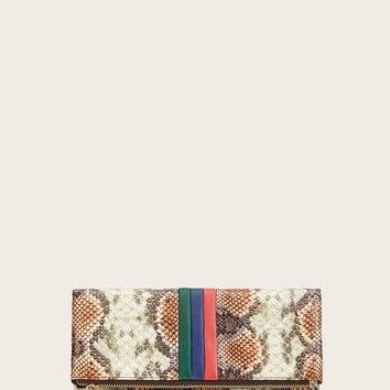 Snakeskin Print Clutch Bag