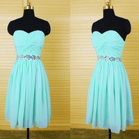Homecoming Dress,Mint Green Sequins Chiffon Strapless Short Prom Dress