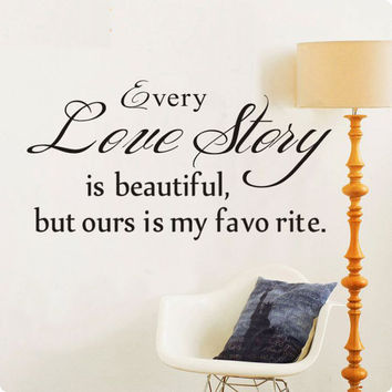 Every Love Story Is Beautiful Vinyl Wall Decals Quotes Art Sayings Home Decor Christmas Wall Stickers
