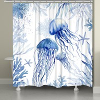 Blue Watercolor Jellyfish Shower Curtain