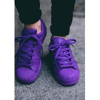 """""""Adidas"""" Fashion Unisex Leisure Shell-Toe Sneakers Sport Running Shoes Pure Color Flats Shoe Purple I"""