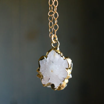 Stalactite Necklace. White Stone Pendant Necklace. Natural Stalactite Slice on Gold Filled. Minimal Delicate Gemstone Jewelry