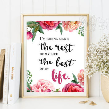 Motivational quotes printable Life printable wisdom new beginning inspirational print begin again wall digital art wedding engagement gift