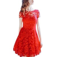 New Summer Women Floral Lace Dress Short Sleeve O-Neck Casual Mini Dresses S M L XL