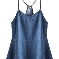 Blue V-neck Spaghetti Strap Peplum Denim Cami Top