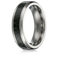 6MM TITANIUM RING WEDDING BAND BLACK CARBON FIBER INLAY BEVELED EDGES | FREE ENGRAVING