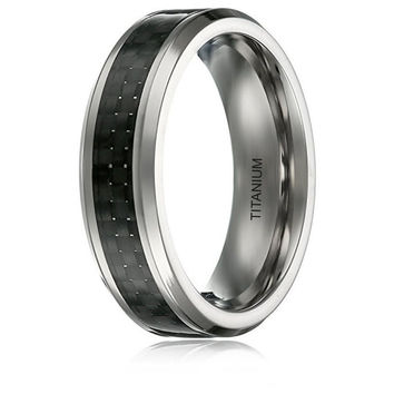 6MM TITANIUM RING WEDDING BAND BLACK CARBON FIBER INLAY BEVELED EDGES