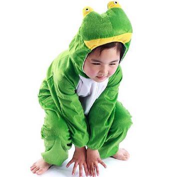 Kids Animal Onesuit for Children Frog Costume Frog Prince Roleplay Fancy Dress Full Sleeve Jumpsuit Halloween Party Costume