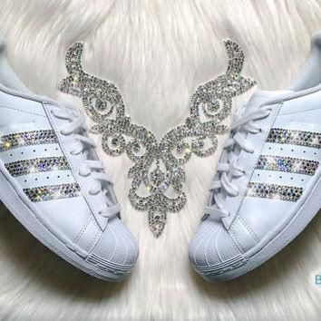 Adidas Superstar Womens Shoes White Stripes Customized with Swarovski Crystals Brand N