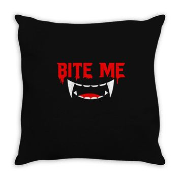 bite me halloween vampire teeth Throw Pillow