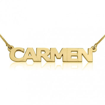 Block Letter Style 18k Gold Plated Custom Name Necklace