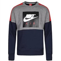 Nike Fashion Women Men Casual Print Long Sleeve Round Collar Velvet Sweater Pullover Top Sweatshirt