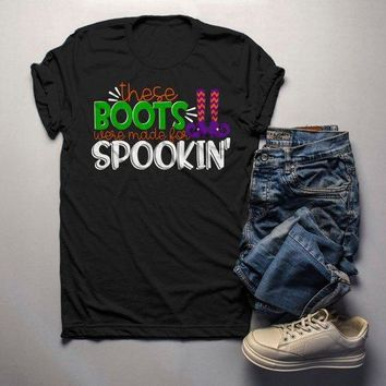 Men's Funny Halloween T Shirt Boots Made For Spookin' Witch Shirts Halloween Tee
