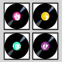"Set of 4- 12""x12"" Wall Decor Prints, Modern Home Decor-The Beatles on Vinyl Records"