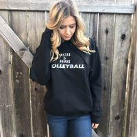 Hustle and Heart Volleyball Glitter Hooded Sweatshirt