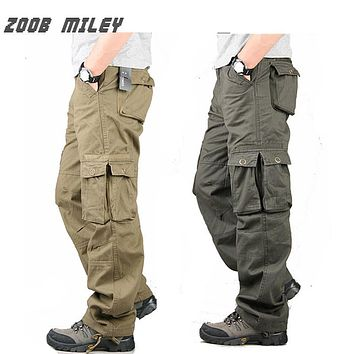ZOOB MILEY Fashion Men Cargo Pants Plus Size 30-38 Military for Men Multi Pockets Overalls Loose Fit Cotton Causal Work Trousers