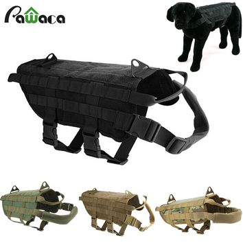 Army Tactical Dog Vests Training Vest Harness Load Bearing Military Travel out door Dog pitbull Clothes 5 SIZE Pet supplies