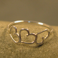 Three dancing hearts ring, sterling silver valentine ring, valentine day gift, jewelry for girls, teens, women