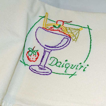 "Hand Embroidered Vintage Design Tea Towel or Bar Towel, ""Daiquiri""  Great Gift Idea"