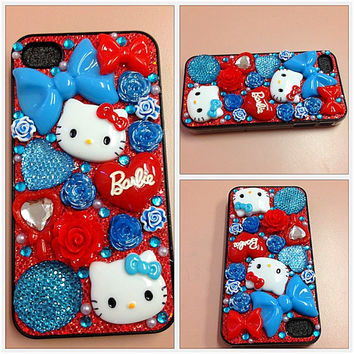Hello kitty hard iphone 4 4g 4gs 4s case bling blue, red, flowers, barbie, bows and hearts