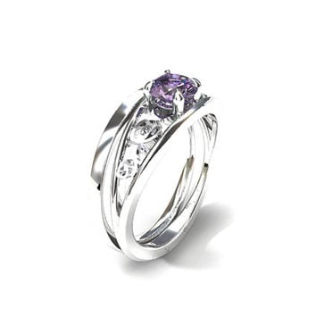 Engagement ring set, Lavender sapphire engagement ring, filigree ring, simple wedding band,  engagement, white gold, sapphire ring, purple