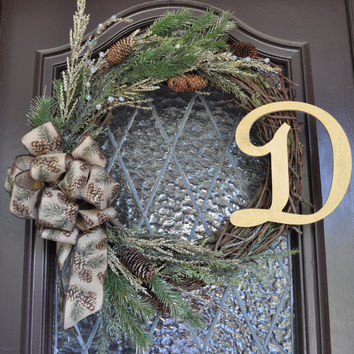 Christmas Wreath- Holiday Wreath, Pine Wreath, Personalized, Front Door Wreath, Winter Wreath