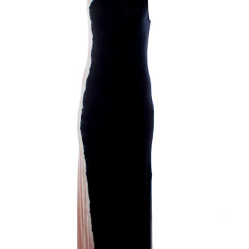 DejaVu Vertical Tie Dye Maxi Dress with Side Slit (Tan/Black)