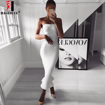 HAGEOFLY Summer White Rayon Bandage Mermaid Dress Navy Red Strapless Ruffle Midi Festival Wedding Party Bodycon Dresses Vestidos