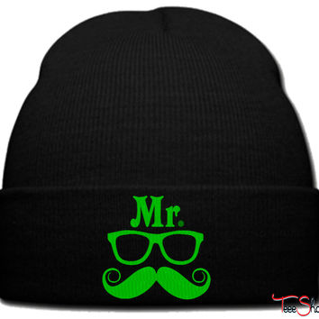 Mr Geek green beanie knit hat