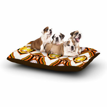 "Dawid Roc ""Inspired By Psychedelic Art 1"" Orange Pattern Dog Bed"