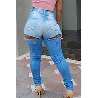 Cut Out Hip Holes High Waist Elasticity Slim Long Jeans