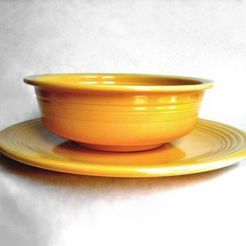 Yellow Fiestaware Dishes Nappy Bowl & Chop Plate Serving Platter Dish Vintage Fiesta Ware Kitchen Set Genuine Original Homer Laughlin Dishes