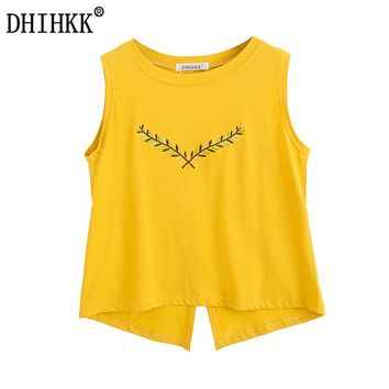 DHIHKK 2017 New Arrival Women Summer Sleeveless O-neck Leaves Embroidered Cotton Tank Tops Women Yellow Tees Tops Female