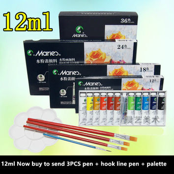 Waterproof 24 Color 12ML Tube Acrylic Lacquer Color Nail Glass Art Canvas Paint Drawing Tools For Children DIY watercolor paint
