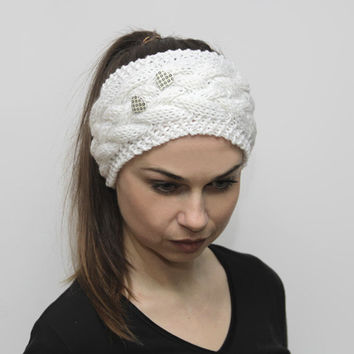 Knit Headband, Knitting Headwarmer, Knit Hair Band, Turband by Solandia, White, Heartshaped buttons, Ear Warmer, Head Wrap,  Gift