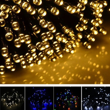 17M 100 LED Solar String Light Multi-color Waterproof Christmas Party Outdoor Decor Light