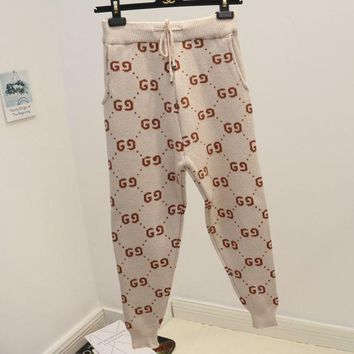 PEAPJ1A Gucci winter new knit pants double G word wild wool trousers casual pants