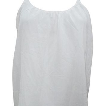 Mogul Interior Lenore Womens Sexy Blouse White Casual Comfy Spaghetti Strap Summer Chic Tank Top