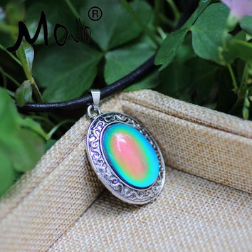 Mojo Bohemia Style Oval Stone Heat Sensitive Mood Color Change Stone Pendant Real Leather Necklace Fashion Jewelry MJ-SNK005