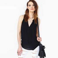 V-Neck Sleeveless Chiffon Shirt
