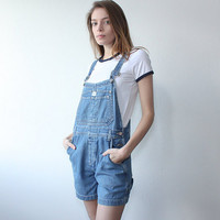 Calvin Klein Overall Shorts Vintage // 90s Denim Overalls Blue Jean Shortalls Romper 1990s Womens - Small