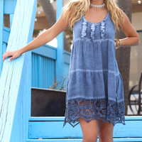 Sea Oats Sea Foam Crochet Trim Tiered Dress