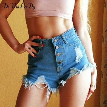 ESBONFI DeRuiLaDy 2017 Summer New Women Shorts Women Clothing Holes Denim Shorts Ruffle Fashion Wild High Waist Blue Black White Shorts